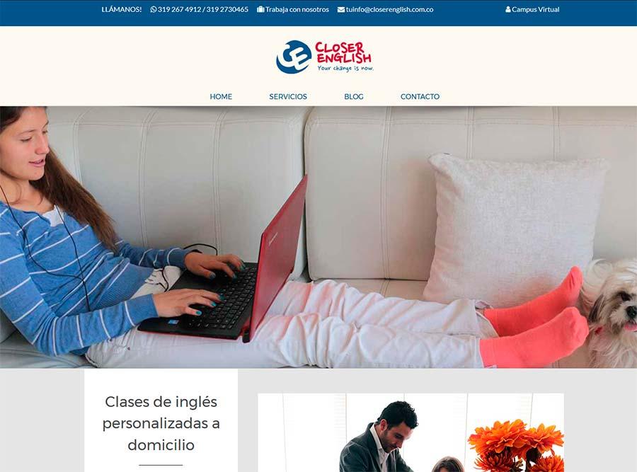 Diseño y posicionamiento web de academia de inglés e idiomas