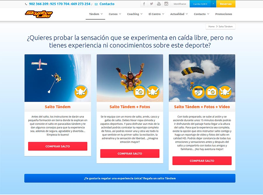 Posicionamiento SEO empresas paracaidismo