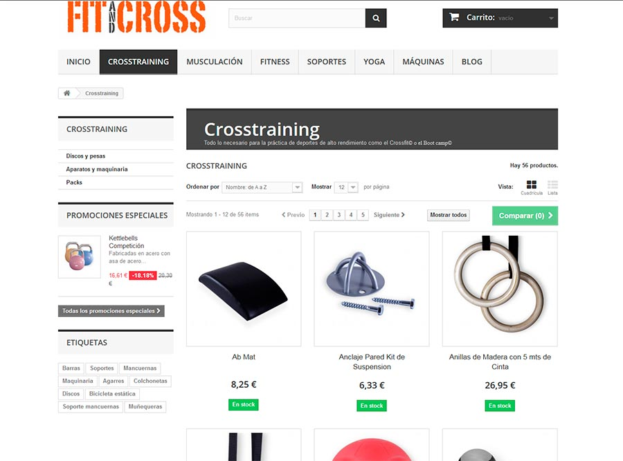 Diseño web tienda online deporte